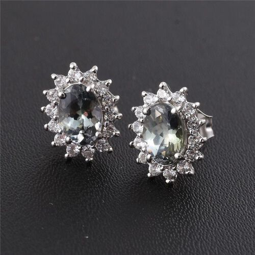 9K White Gold 1.25 ct. AA Green Tanzanite Stud Earrings with  Natural Cambodian Zircon