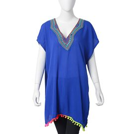 Blue, Green and Red Colour V Neckline With Bohemian Style Ornate Embroidered Summer Poncho with Green Colour Plastic Beads and Multi Colour Pom Pom (Size 80x55 Cm)