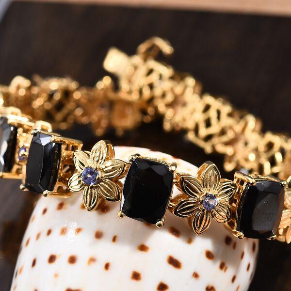 Elite Shungite (Cush 9x7 mm),Tanzanite Floral Bracelet (Size 7.5) in 14K Gold Overlay Sterling Silver 14.75 Ct, Silver wt 20.00 Gms