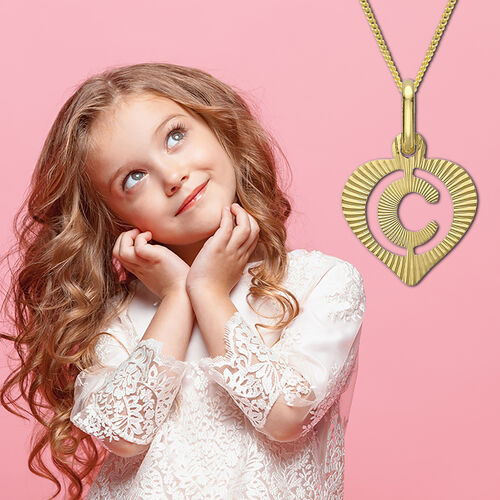 Children Diamond Cut C Initial Heart Pendant in 9K Gold