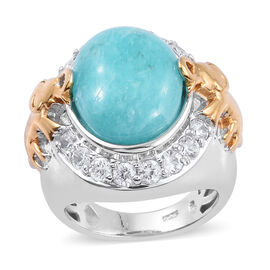 8.5 Ct Peruian Amazonite and Cambodian Zircon Halo Ring in Two Tone Plated Sterling Silver 9.64 Gms