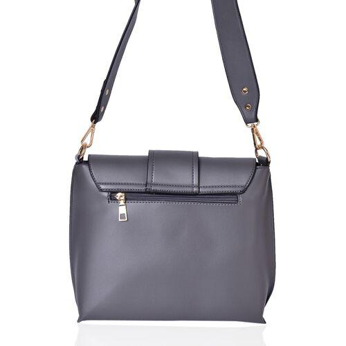 Dark Grey Colour Crossbody Bag with Removable Shoulder Strap (Size 24.5X21X8 Cm)