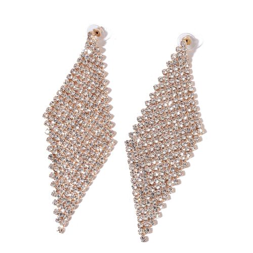 AAA White Austrian Crystal Chandelier Earrings (with Push Back) in Yellow Gold Tone