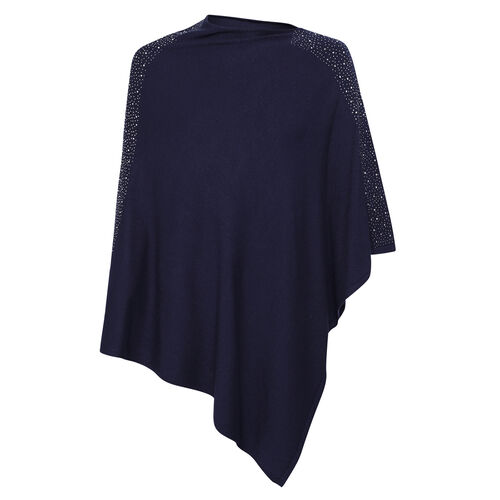 Kris Ana Shoulder Scatter Poncho One Size (8-20) - Navy