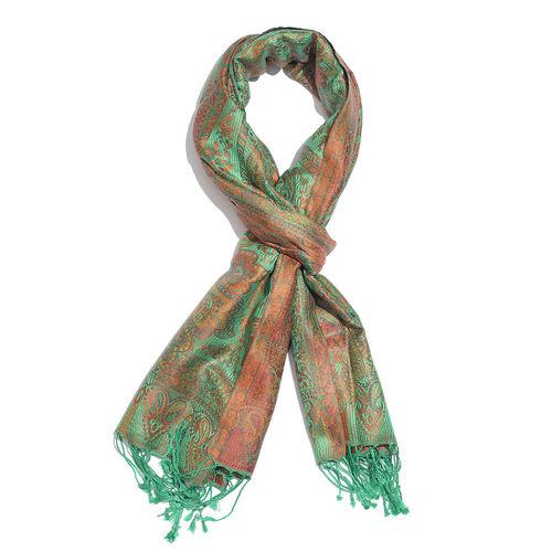 SILK MARK - 100% Superfine Silk Green, Orange and Multi Colour Paisley Pattern Jacquard Jamawar Scar