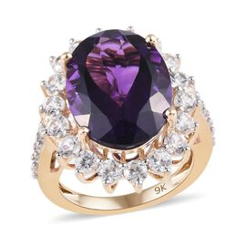 9K Yellow Gold AAA 100% Natural Moroccan Amethyst (Ovl 16x12mm), Natural Cambodian Zircon Ring 11.00
