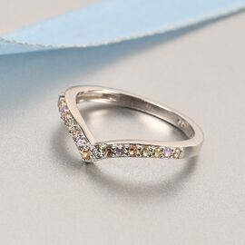 Rainbow Sapphire Wishbone Ring in Platinum Overlay Sterling Silver