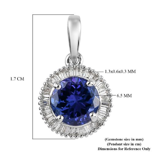 RHAPSODY 950 Platinum AAAA Tanzanite and White Diamond Halo Pendant 1.25 Ct.