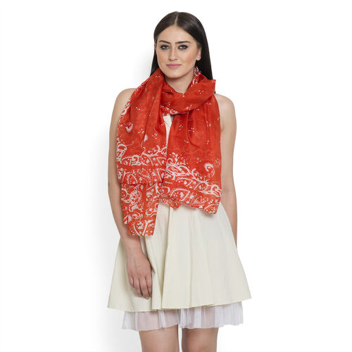 100% Mulberry Silk White Colour Paisley Pattern Orange Colour Pareo (Size 175x100 Cm)