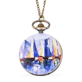 STRADA Japanese Movement Water Resistant Sailboat Port Pattern Pocket Watch with Chain