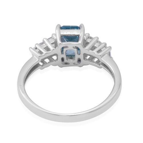 Ratanakiri Blue Zircon and Natural Cambodian Zircon Ring in Rhodium Overlay Sterling Silver 2.89 Ct.