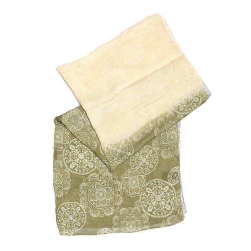 Olive, Green and Grey Colour Modal Matt Weave Screen Printed Scarf (Size 170x70 Cm)