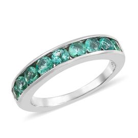 1 Carat Boyaca Colombian Emerald Half Eternity Band Ring in 9K White Gold 3.4 Grams