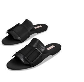 Inyati - NATALIE Black Croc Finish Sandals with Statement Buckle