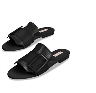 Inyati - NATALIE Black Croc Finish Sandals with Statement Buckle (Size 4)