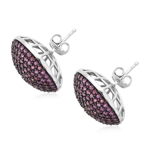 Red Carpet Collection-Rhodolite Garnet (Rnd) Stud Earrings (with Push Back) in Black Rhodium and Platinum Overlay Sterling Silver 5.000 Ct.Gemstone Studded 250 Pcs. Silver wt. 6.11 Gms.