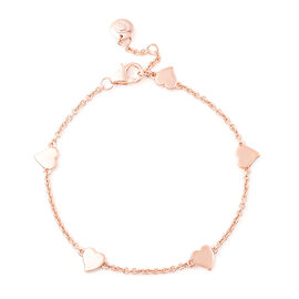 RACHEL GALLEY Heart Collection - Rose Gold Overlay Sterling Silver Heart Station Adjustable Bracelet