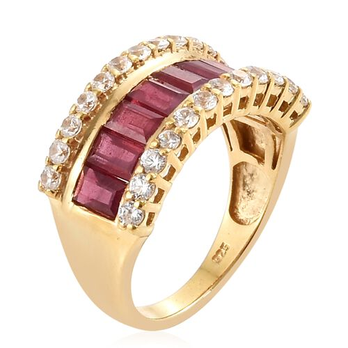 African Ruby (Bgt), Natural Cambodian Zircon Ring in 14K Gold Overlay Sterling Silver 4.500 Ct.