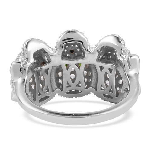 Halloween Collection- Russian Diopside (Rnd), Boi Ploi Black Spinel and Natural White Cambodian Zircon Three Skull Ring in Rhodium Overlay Sterling Silver 2.820 Ct, Silver wt 6.38 Gms.