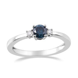 9K White Gold SGL Certified White and Treated Blue Diamond (Rnd) (G-H/I3) Ring 0.505 Ct.