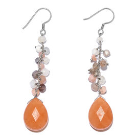 Peach Quartzite and Multi Moonstone Hook Earrings in Platinum Overlay Sterling Silver 33.600 Ct.