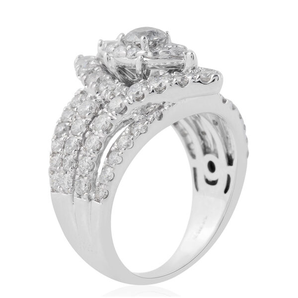 NY Close Out Deal 14K White Gold Diamond (Rnd) (I1-I2/G-H) Ring  2.01 Ct, Gold wt 9.10 Gms