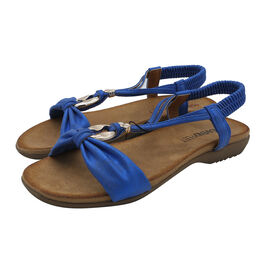 Heavenly Feet Campari Sandal with Elasticated Ankle Strap in Blue (Size 3)