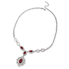 Simulated Ruby (Mrq 18x9 mm), White Austrian Crystal Necklace (Size 22 with 2.5 inch Extender) in Silver Plated