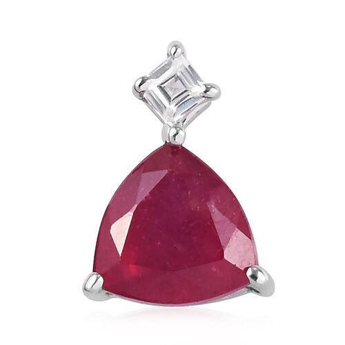 9K White Gold AA African Ruby and Natural Cambodian Zircon Pendant 1.10 Ct.
