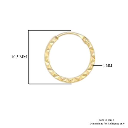 9K Yellow Gold Diamond Cut Hoop Earrings (with Clasp Lock)