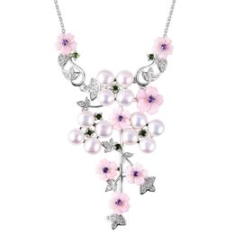 Jardin Collection - Pink Mother of Pearl, Freshwater Pearl, Amethyst, Russian Diopside and Natural W