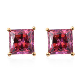 2 Carat Made with Red Swarovski Zirconia Solitaire Stud Earrings in Gold Plated Sterling Silver