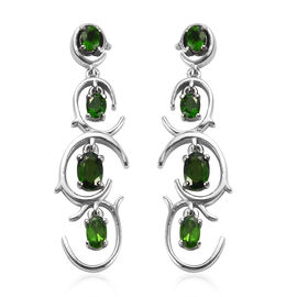 Russian Diopside Dangle Earrings (with Push Back) in Platinum Overlay Sterling Silver 2.25 Ct, Silve