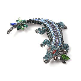 Simulated Multicolour Gemstone and Multicolour Austrian Crystal Crocodile Brooch in Black Tone