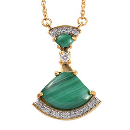 GP 5.51 Ct Malachite and Multi Gemstone Drop Necklace in Gold Plated Sterling Silver 18 Inch