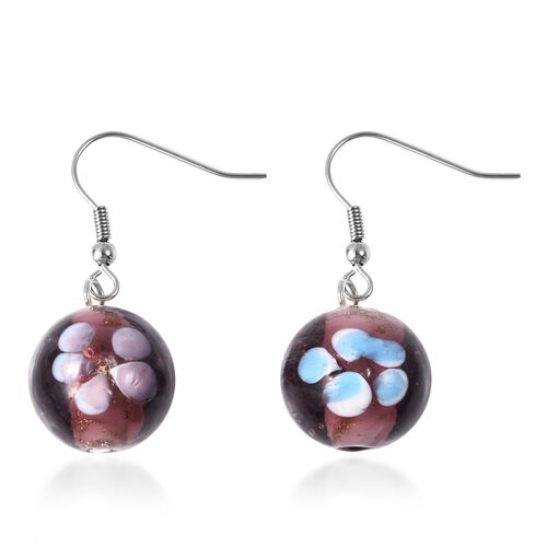 Purple Colour Murano Glass Drop Hook Earrings in Stainless Steel