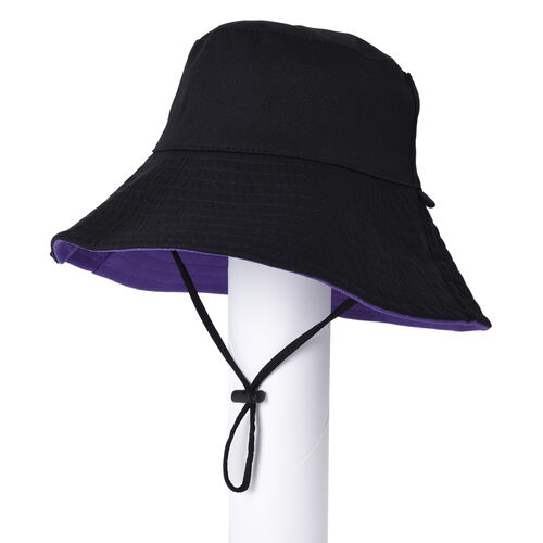 Bucket Protection Hat with Detachable Safety Protective Face Eye Shield Screen (Perimeter: 57Cm) - Purple and Black