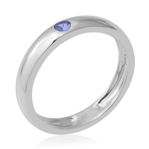 Tanzanite (Rnd) Solitaire Band Ring in Rhodium Overlay Sterling Silver