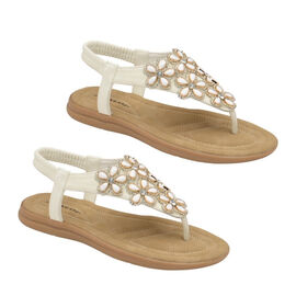 Dunlop Jaden Embellished Toe Post Flat Sandals in White Colour