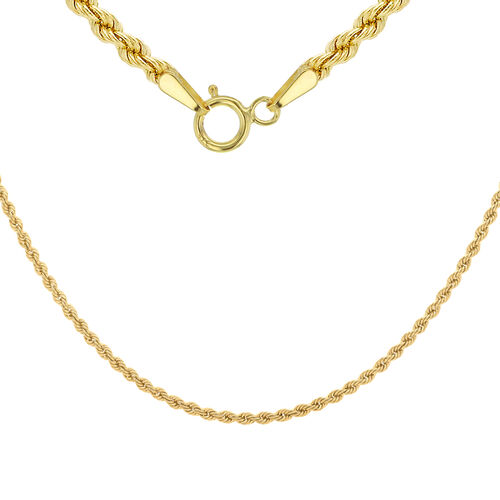 9K Yellow Gold Rope Chain (Size 16), Gold wt 2.20 Gms