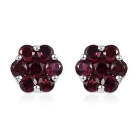 One Time Deal- Arizona Anthill Garnet (Rnd) Floral Stud Earrings (with Push Back) in Platinum Overla