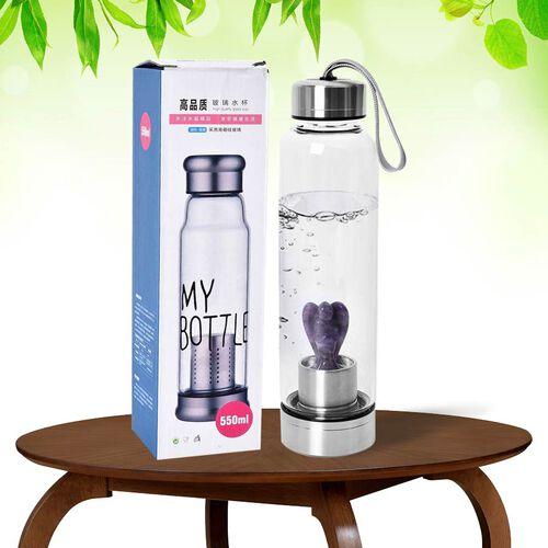 550 ML Amethyst Angel Figurine Crystal Elixir Water Bottle with Stainless Steel Cap (Size 24.5x6.5 Cm)