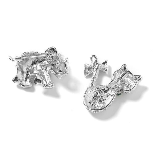 Set of 2 White and Black Austrian Crystal (Rnd), Multi Colour Austrian Crystal Kitty and Elephant Brooch in Silver Tone