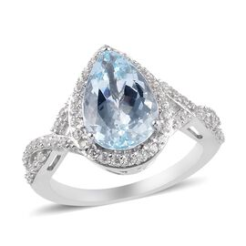 Aquamarine and Natural Cambodian Zircon Ring in Platinum Overlay Sterling Silver 2.90 Ct.