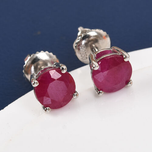Limited Edition- RHAPSODY 950 Platinum AAAA Burmese Ruby Stud Earrings (with Screw Back) 2.00 Ct.