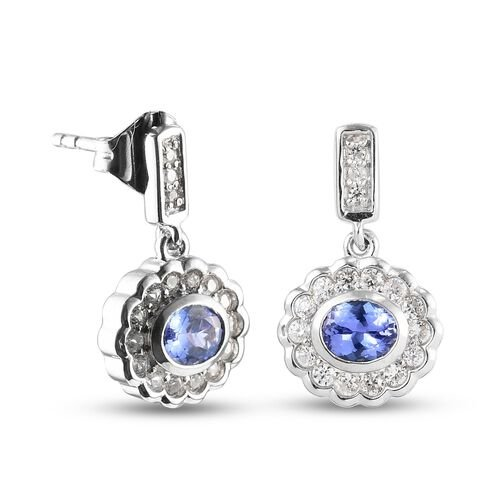 Tanzanite and Natural Cambodian Zircon Floral Dangling Earrings (with Push Back) in Platinum Overlay Sterling Silver 1.22 Ct.