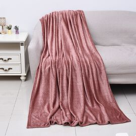 Microfibre Flannel Embossed Pattern Blanket (Size 150x200 Cm) - Dusty Pink