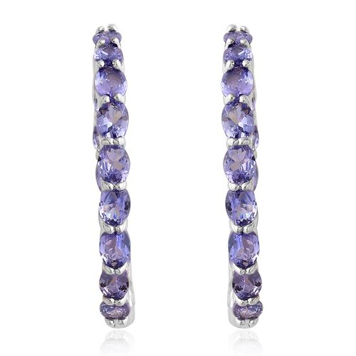 Tanzanite (Ovl) Hoop Earrings (with Clasp) in Rhodium Plated Sterling Silver 5.250 Ct, Silver wt. 5.