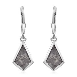 8.50 Ct Meteorite Solitaire Drop Earrings in Platinum Plated Sterling Silver