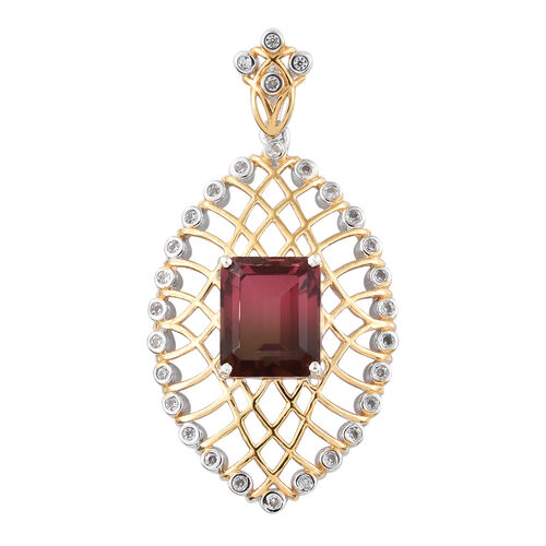 Finch Quartz (Oct 12x10 mm), Natural Cambodian Zircon Pendant in Yellow Gold and Platinum Overlay St